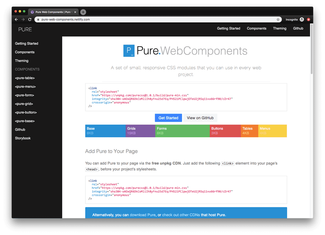 Pure Web Components frontpage